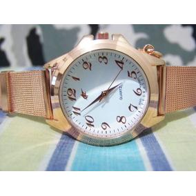 Relógio De Pulso Potenzia Rose Lindo Fundo Branco