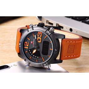 Relógio Multifuncional Naviforce Original Couro Legitmo