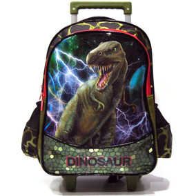 Mochila Infantil Dinossauro Rex Dinossauros Rodinhas G Verde