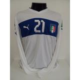 Camisa Itália Away 12-13 Pirlo 21 Manga Longa Confederações 36a8675f0de43