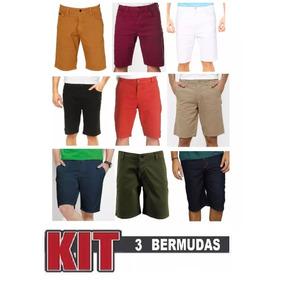 Calça Jeans Sarja Com Lycra Masculina Plus Size Kit 3 Peças