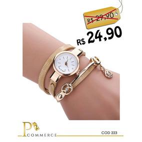 Kit Com 5 Relógios Femininos Com Pulseiras Dourado Barato