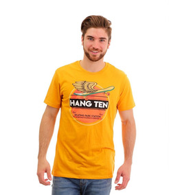 Playera Para Hombre Hang Ten Amarilla Skating Park Print