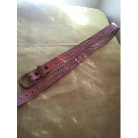 Cinturon De Cuero Con Troquelado Repujado Talla 38