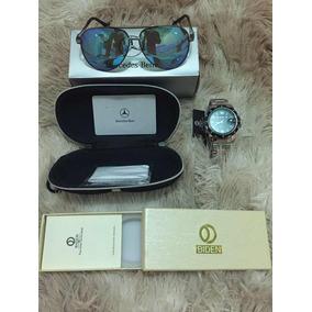 Kit Luxo Óculos Mercedes E Relógio Biden Super Top!!!