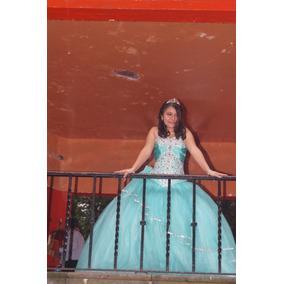 Vestido De Xv Verde Agua Con Pedrería Bordada A Mano