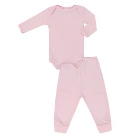 Conjunto Bebê Feminino Básico Body E Calça Rosa