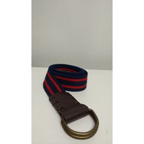 a821f5b31 Cinto Masculino Cadarço Com Couro - Listra Azul C/ Vermelho
