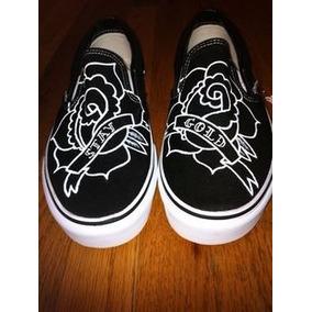 Vans Rosa Negra Pintados A Mano