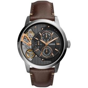 Reloj Fossil Me1163 Caballero Piel Cafe Con Plateado Engrane