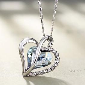 5e80f9157225 Dije Y Collar Corazón Cristal Swarovski Elements Regalo