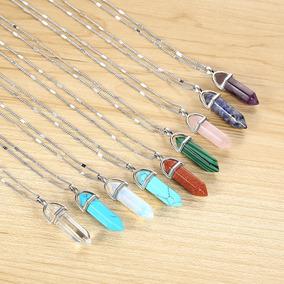 Collar Cuarzo Colores Cristal Y Amatista Variado