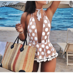 Bikini Con Detalle Cintura Traje De Baño Femenino Pompones