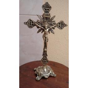 Cruxifixo De Mesa Em Bronze Macico Raiado Grande 33cm