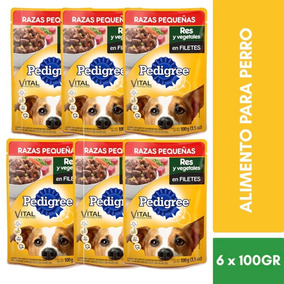 6 Sobres Pedigree Alimento Adulto Pouch Res Y Vegetales 100g