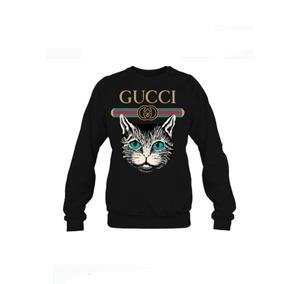 Blusa Gola Redonda Gucci Gato Psicodelico Casaco Moletom 1b2b199bd5a