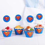 Astra Gourmet Superman Cupcake Toppers Y Envoltorios Sumi...