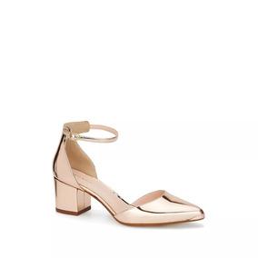 Zapatilla Ankle Strap Cobre Tacon Grueso Andrea 2584928