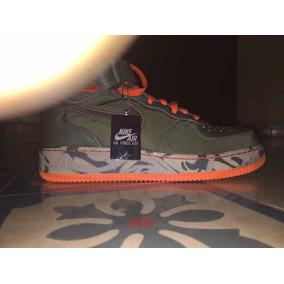 Tenis Nike Air Force One Mid Naranja Con Verde Talla 6