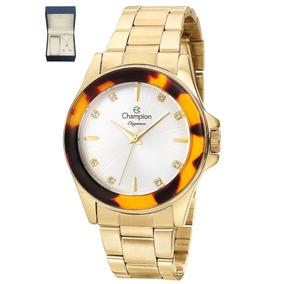ea3590c0592 Relogio Feminino Dourado Champion Com Fundo Colorido - Relógios De ...