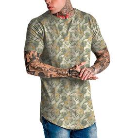 Camiseta Masculina Camisa Longline Vintag Floral Florido Top dd9011742668d