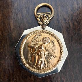 Arte Sacra Antigo Anjo Da Guarda Relicário Prata Banho Ouro