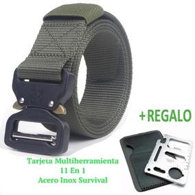 10 Pzs. Cinturón Táctico Tipo Asalto Militar + Tarjeta 11en1