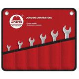 Jogo De Chave Fixa Cromo Vanádio 6 A 22mm 8 Peças Worker