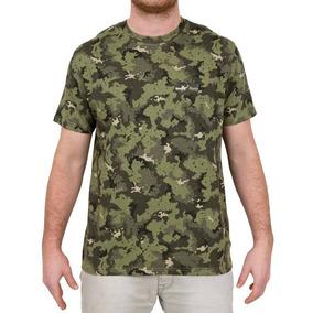 Camiseta Caza Pesca Steppe 100 Manga Corta Camuflaje Verde