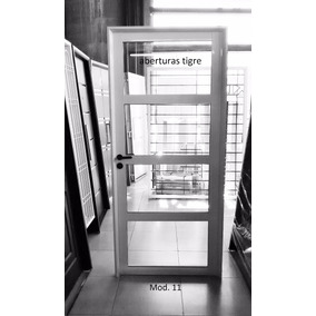 Puerta De Aluminio 80x200 Vidrio 4mm Repartido Horizontal