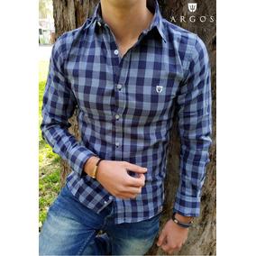 Camisa Slim Fit Cuadros Azul Y Gris Por Moon & Rain - Argos