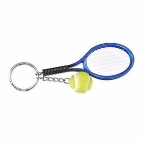Chaveiro Criativo Raquete De Tênis Com Bola - Azul