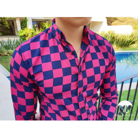 Camisa Slim Fit Cuadros Rosa, Marino Moon & Rain Tiendas Pla