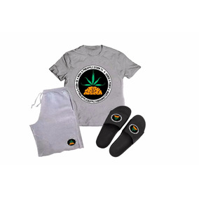 Kit Camisa + Bermuda + Chinelo Slide Pineapple Rap Nacional 9228963b33e