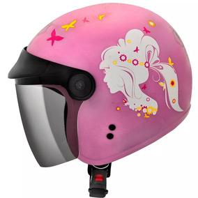Capacete Feminino Aberto Fly F17 Lady Rosa E Branco/rosa
