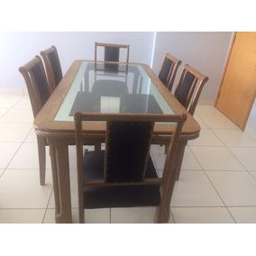 Mesa Madeira De Cerejeira Com 6 Cadeiras.c/tampo De Vidro.