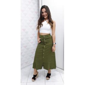 Saia Jeans Midi Roupa Feminina Botão Frontal @espaco.mia