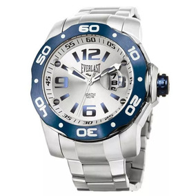 869f98361f1 Relógio Masculino Everlast E099 Preto Prata Aço Inoxidável ...