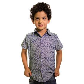 Camisa Para Niño Con Estampado De Hojas Color Mezclilla