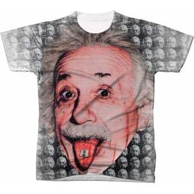 1d83d31a7 Camiseta Camisa Psicodélica Blusa Manga Curta Albert Einstei