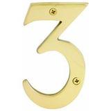 Numero Para Casa 3 Latón Solido 4 Pulgadas Hermex