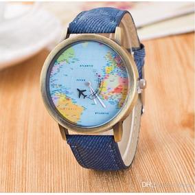 Relógio De Pulso Mapa Mundi Viagem Avião Mundo Couro Unissex