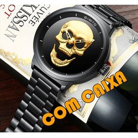Relógio Pulso Gimto Caveira Skull Aço Inox Com Caixa