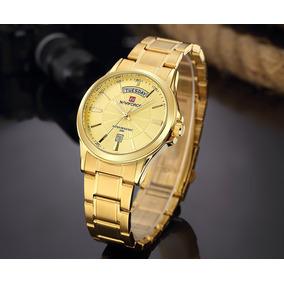 8b4bd8a0e6e Relógio Naviforce Dourado Ouro Luxo Aço Nf 2045m Daydate. R  129