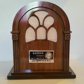 Rádio Retrô Capelinha, Vintage, De Madeira Mdf, Bluetooth