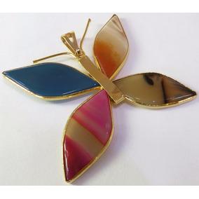 Pingente Borboleta Folheada A Ouro Pedras Naturais N010