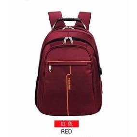 Mochila Com Alça Reforçada Notebook 15.6 Saida Usb Vermelha