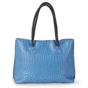 Bolsa De Mano Importada Tipo Avestruz Color Azul Mezclilla