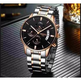 a2181cc183e Relógio Nibosi Original Prata De Luxo A Prova D água