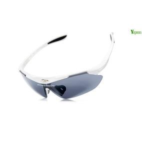 Óculos Ciclismo Moto 5 Lentes Uv Polarizadas Armação Branca e6fa460436